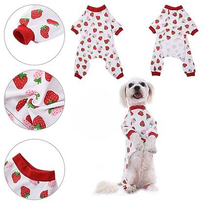 Ropa para perros Camisa para perros Pijamas de algodón de patrón de noche de dormir vestido