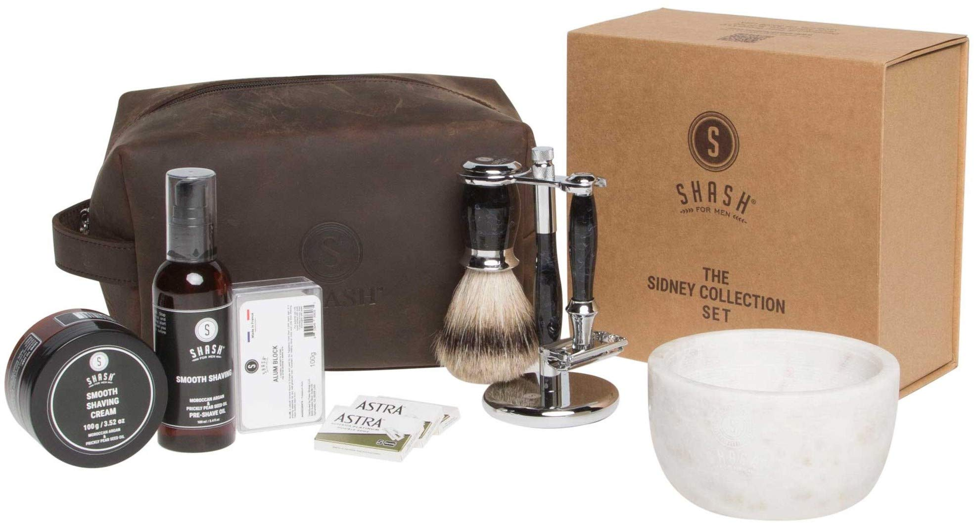 SHASH Sidney Collection Shaving Set, Black - Includes Butterfly Razor, Best Badger Brush, Stand, Pre-Shave Oil, Shaving Cream, Alum Block and Double Edged Blades - Premium Quality Brass and Chrome by SHASH