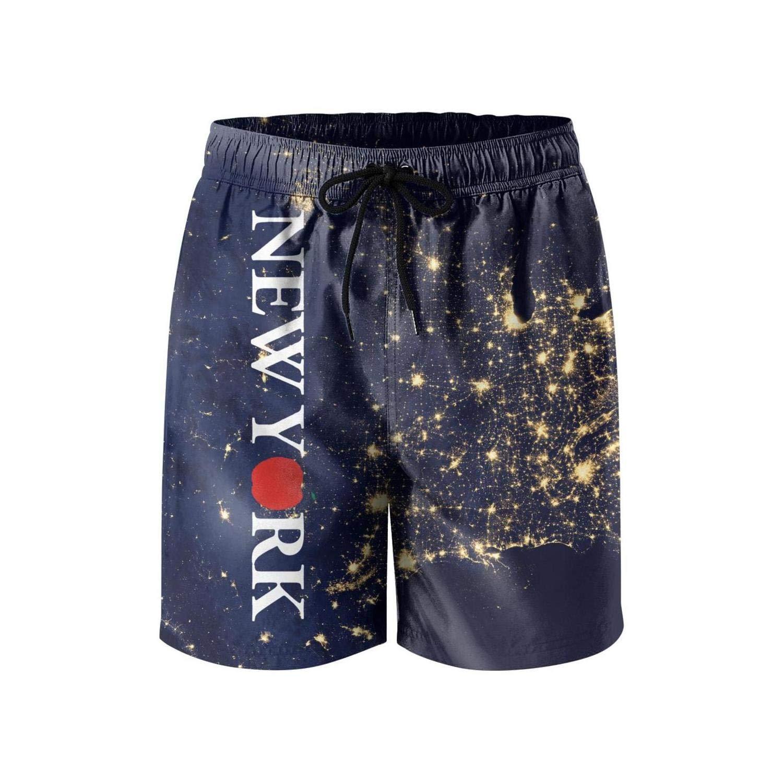 Trendy Young Men Beach Shorts New York Love Heart Reusable Sportwear Swimming Trunks Short