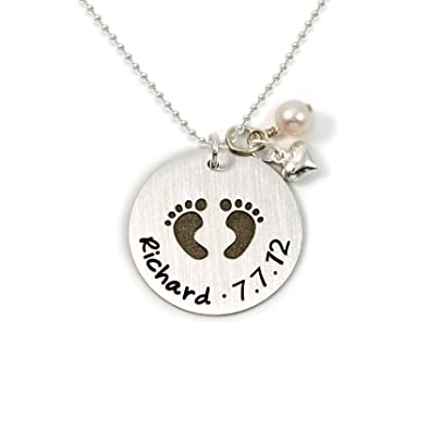 Amazon baby footprint personalized sterling silver name baby footprint personalized sterling silver name necklace customize with childs name date or special aloadofball Choice Image