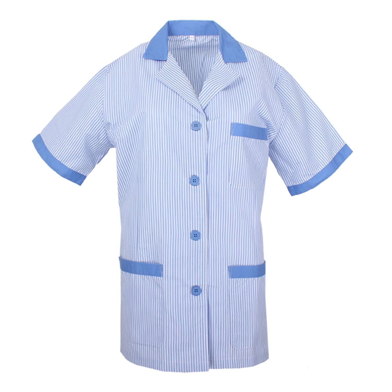 MISEMIYA - Uniformi Mediche Camice Donna Signora Collo Risvolto Striscia Maniche Corte Clinica Ospedale Pulizia Veterinario IGIENE OSPITALITÁ Ref-T820