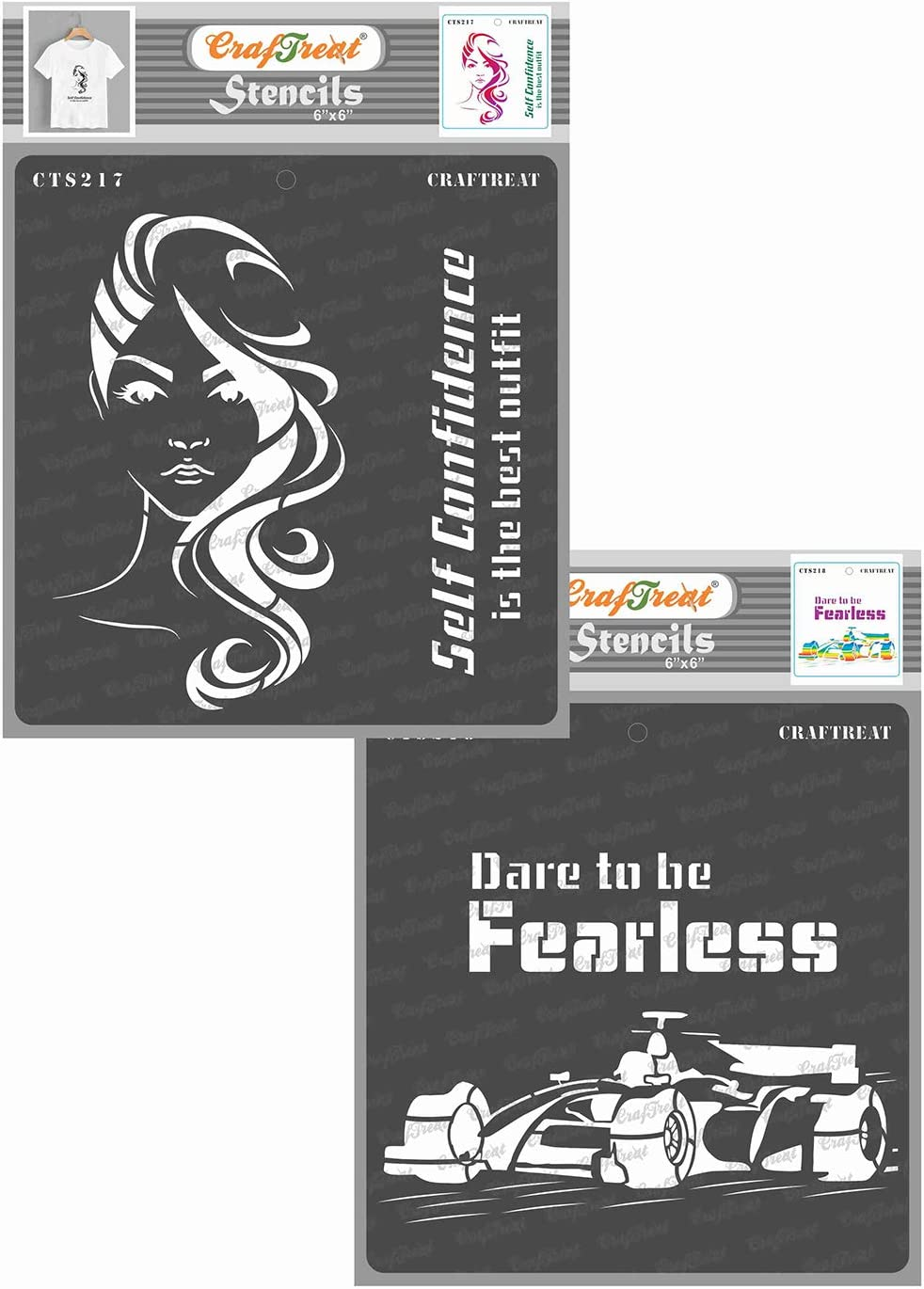 CrafTreat Stencils for Painting on Wood, Canvas, Paper, Fabric, Wall and Tile - Confident Woman and Dare to be Fearless - 2 Pcs - 6x6 Inches Each - Reusable DIY Art and Craft Stencils for Home Decor