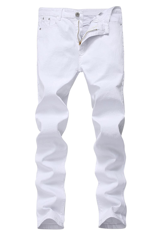 メンズスキニースリムフィットジーンズ ストレッチ ストレートレッグ ファッショナブル B071SDT6DQ 33W|ホワイト ホワイト 33W