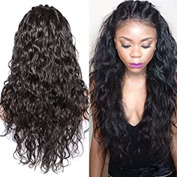 Amazon.com   Glueless Full Lace Wigs For Black Women Virgin Brazilian Human  Hair Wigs with Baby Hair Natural Color 16 Inch 130 Density   Beauty 3216841cb
