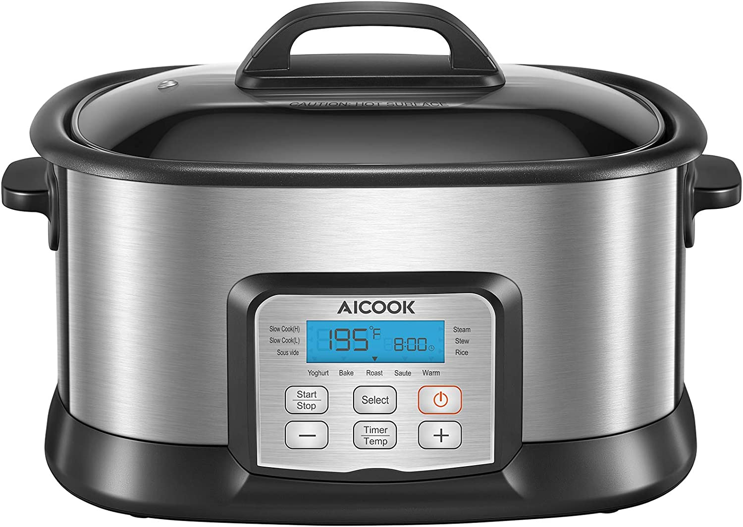 Slow Cooker 6 Quart, AICOOK Programmable Multi-Cooker 10-in-1 Multi-Use Steamer Food Warmer Yogurt Maker with Stainless Steel Pot, Glass Lid, Steam Rack and Digital Timer for Kitchen, 1500W