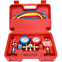 Mofeez Pro AC A/C Diagnostic Manifold Freon Gauge Set For R134A R12 R22 Refrigerants, with Couplers   ACME Adapter   Instructions