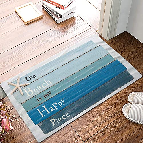 Arts Language Funny Doormats for Entrance Way Indoor Front Door Welcome Rugs Starfish The Beach is My Happy Place Printed Non-Slip Bath Mat Kitchen Mat Floor Carpet for Bedroom Office 20×31.5inch