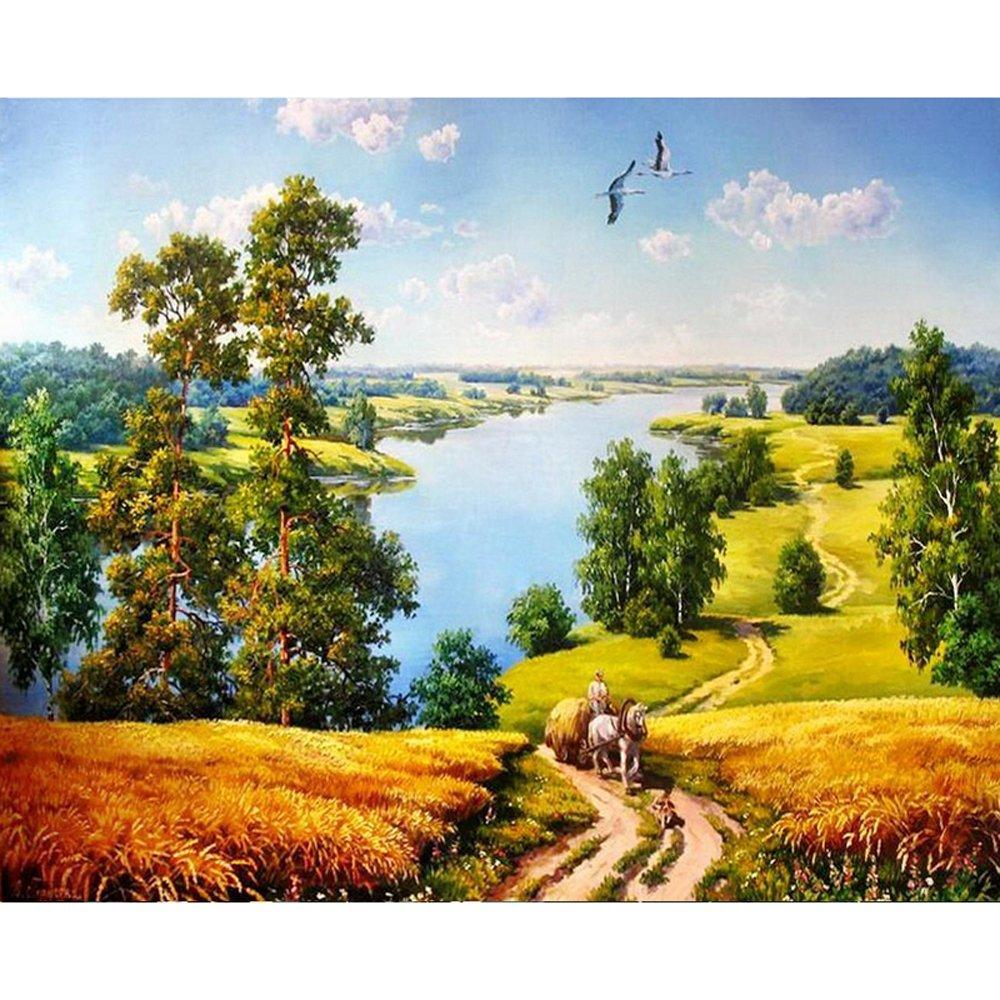 DIY Malen Nach Zahlen Ländliche Landschaft Kalligraphie Malerei Färbung Durch Zahlen Einzigartiges Geschenk Für Wohnkultur 40  50 cm B07PKF3R5T | Günstigstes