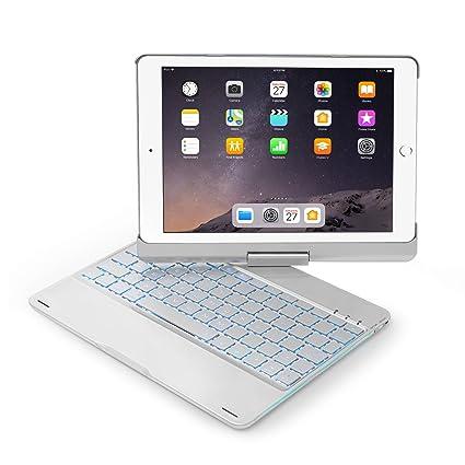pretty nice 95ef1 0b55f Keyboard Case Compatible with iPad 2017(5th Gen)/2018 New iPad(6th  Gen)/Air/Air2/iPad Pro 9.7-360°Rotating Back Cover-Aluminum BT/Wireless  Keyboard,7 ...