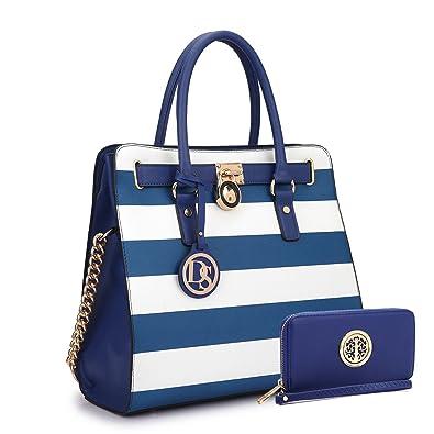 674470f9104328 Amazon.com: MMK collection Women Fashion Pad-lock Satchel handbags with  wallet~Designer Purse for Women Handbag Set (02-2553/BL/WT): Shoes