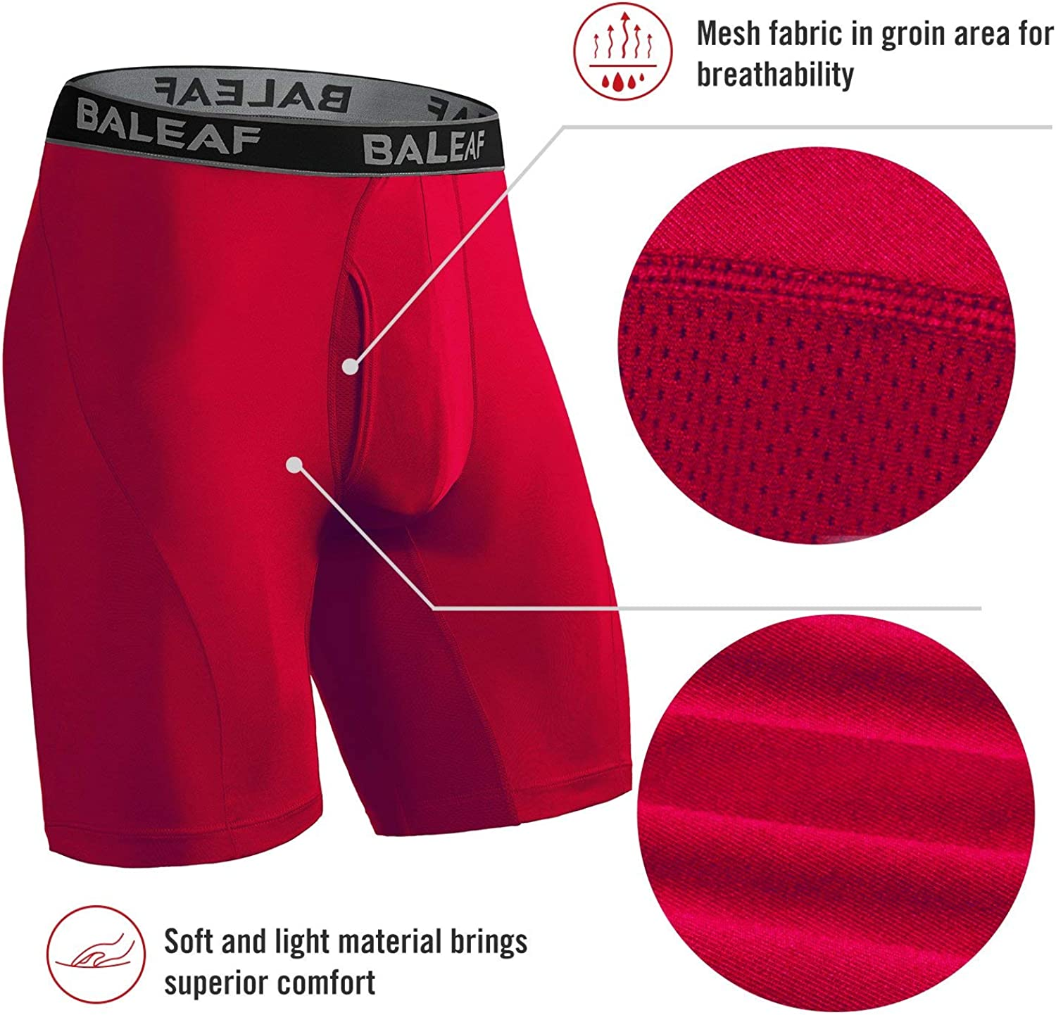 BALEAF 9 Inches Mens Active Underwear Sports Cool Dry Performance Boxer Briefs with Fly Pack of 2