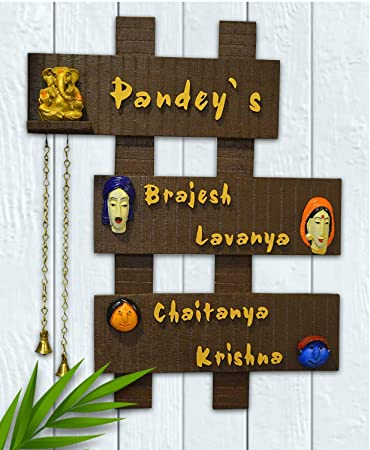 Buy Karigaari India Customized Wooden Family 3 Plate Name Plate For Home Decor Online At Low Prices In India Amazon In