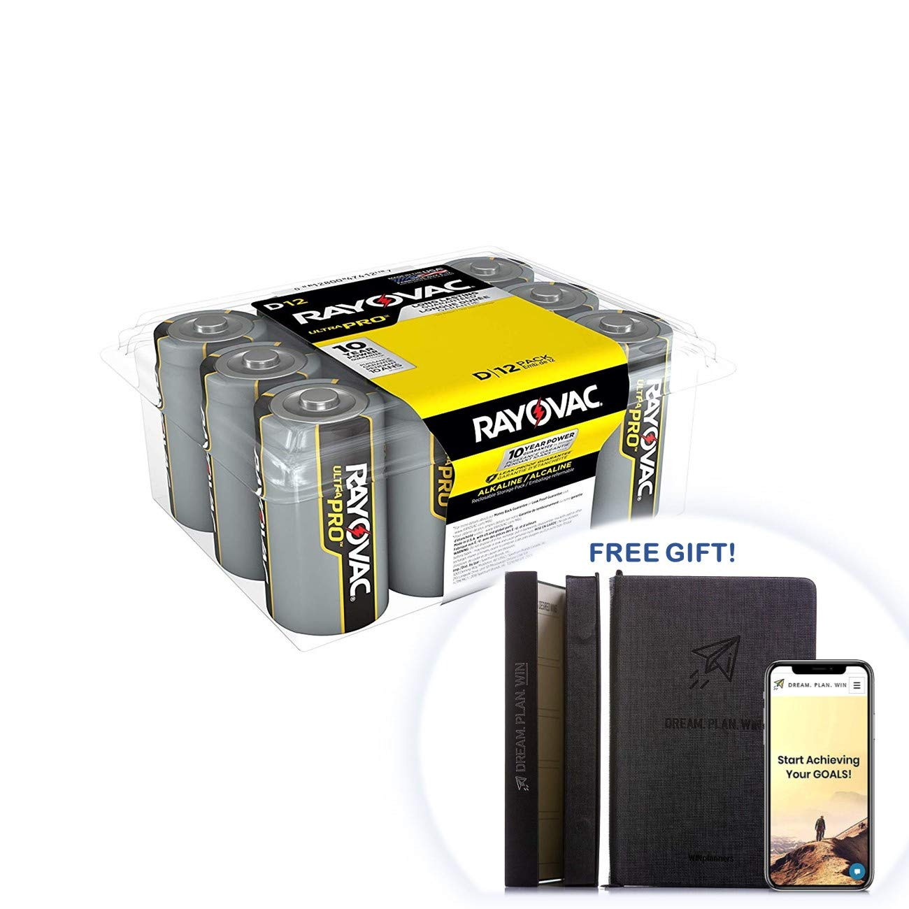 Rayovac D Batteries, Ultra Pro Alkaline D Cell Batteries (28 Battery Count) + Free Gift - Productivity Planner - Attain Your Dreams! (28 Count) by Rayovac (Image #1)