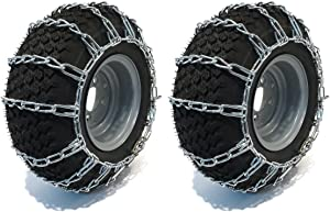 The ROP Shop New Pair 2 Link TIRE Chains 18x6.50x8 for Garden Tractors/Riders/Snowblowers