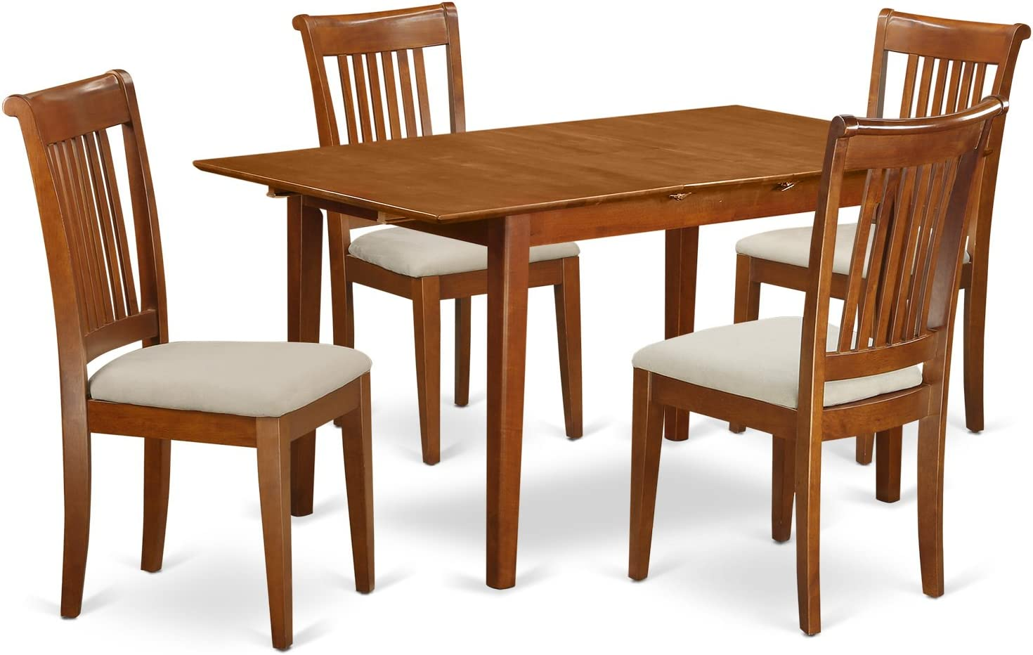 PSPO5-SBR-C 5 Pc small Kitchen Table set Table with Leaf and 4 Dining Chairs
