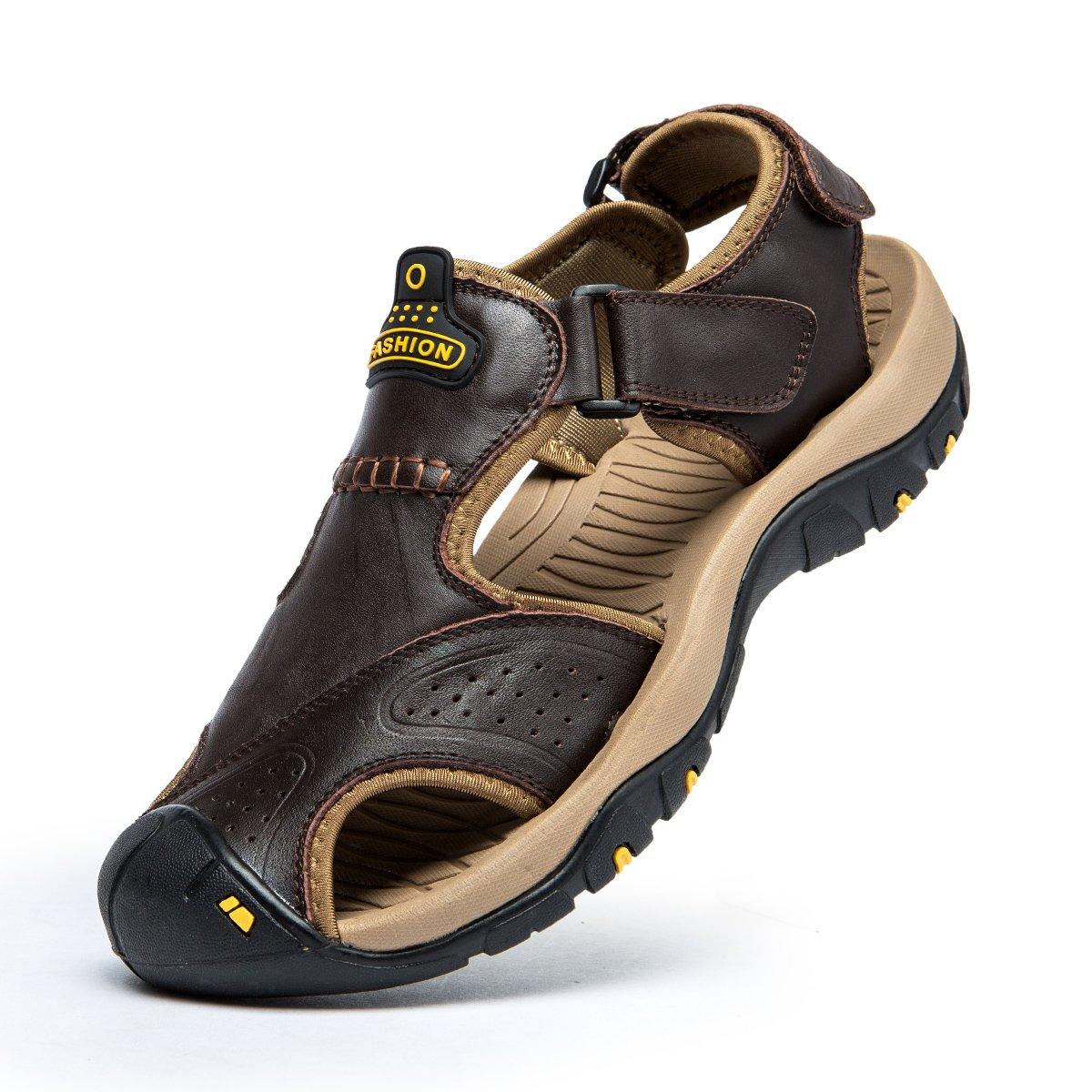 SONLLEIVOO Mens Sports Sandals Outdoor Beach Leather Water Sandal Fisherman Athletics Shoes(Dark Brown,43-9.5)
