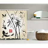Ambesonne Traditional Japanese Decor Collection, Bamboo in The Bird and Fish Hand-drawn with Ink Image, Polyester Fabric Bathroom Shower Curtain Set with Hooks, Black Gray Ivory
