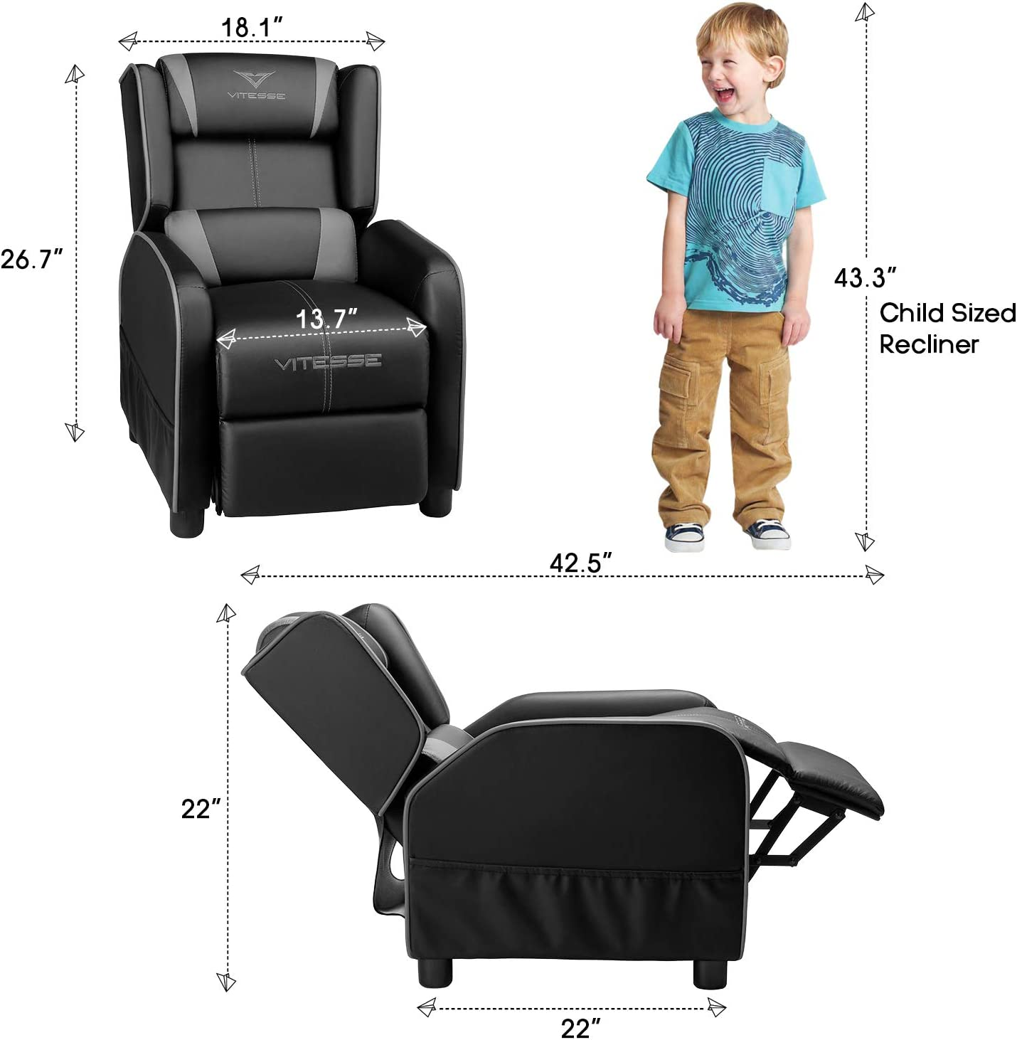Vitesse Kids Recliner Chair for Boys, Girls, and Toddlers.