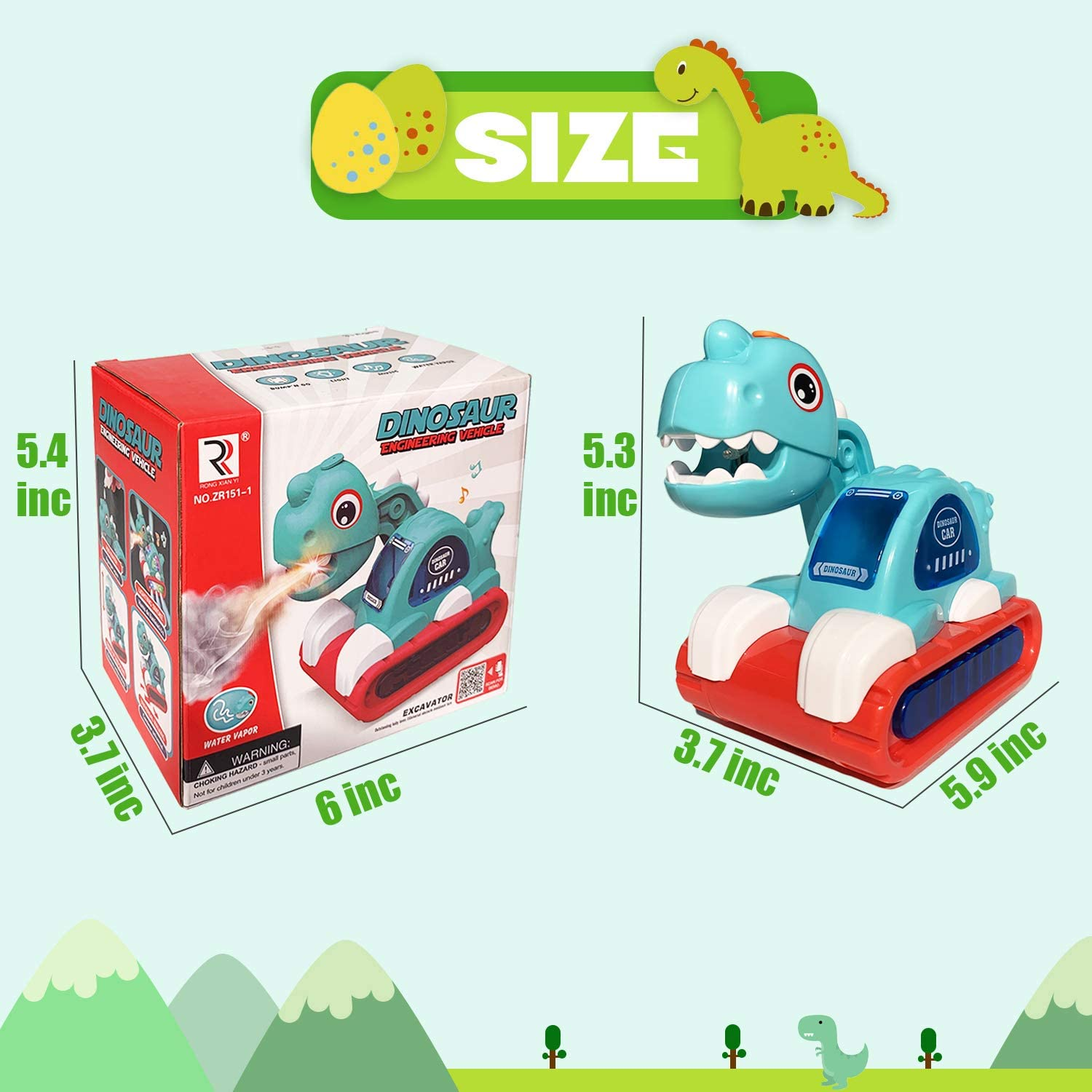 Dino Cars Vehicles Playset Toddler Infant Early Education for Boys and Girls POAOVL Dinosaur Car Toys Cool Mist Spray Fun Kids Dinosaur Toy with Light /& Sound