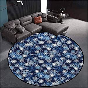 Winter Geometric Area Rug Carpet Decor for Living Rooms, Bedrooms, Dining Rooms Various Different Ornate Snowflakes Blizzard Cold Season Xmas Themed Pale Blue Dark Blue White39 Inch