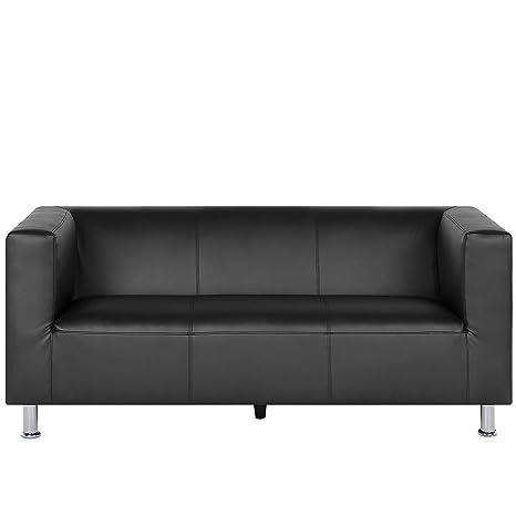 Beliani - Sofá de 3 plazas de Piel sintética, Color Negro ...