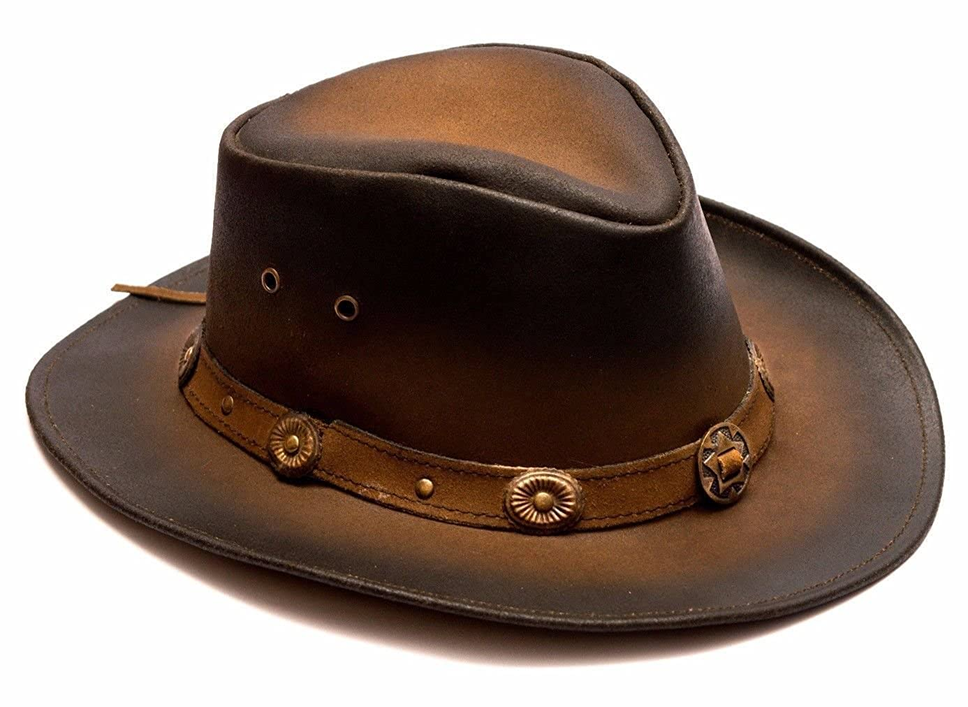 Australian Western Style Cowboy Leather Bush Hat