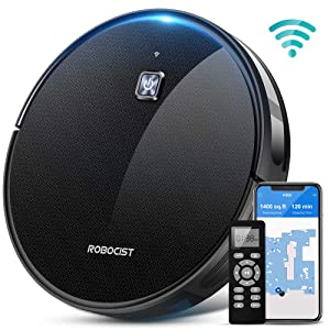 Robot Vacuum - Cordless Robotic Vacuum Cleaner w/ Wi-Fi Connected, APP, Works with Alexa, 1600Pa Max Strong Suction, Super Thin & Quiet, Auto Self-Charging for Pet Hair, Dust, Carpet & Hard Floor