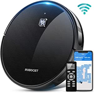 Robocist 850 Robot Vacuum - Smart Robotic Vacuum Cleaner for Pet Hair, Work with Alexa APP Wi-Fi Connected, 1600Pa Max Strong Suction, Self-Charging, Hard Floor Cleaning Robot, Thin & Quiet for Carpet
