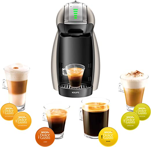Krups yy1784fd máquina de café de cápsulas de Nescafé Dolce Gusto Genio Plus titanio automático calidad profesional presión 15 Bars Large elección de bebidas calientes y frías: Amazon.es: Hogar