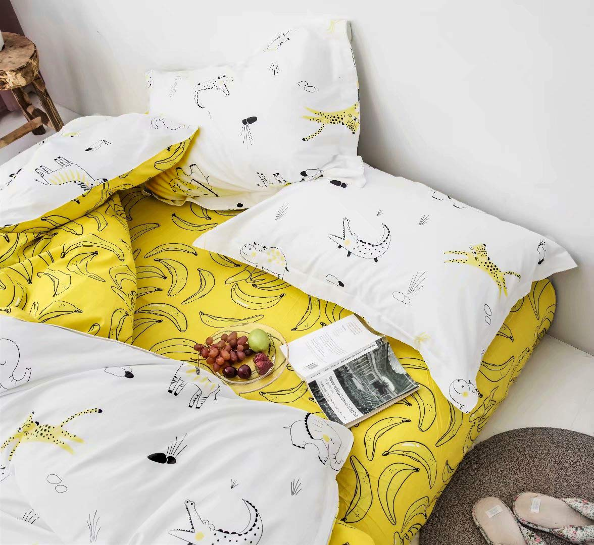 Hypoallergenic Soft Jumeey Duvet Cover Bear Print 3 Pieces Animal Kids Bedding Sets Twin Yellow for Boys Girls 100/% Cotton Hotel Quality Bedding Collection