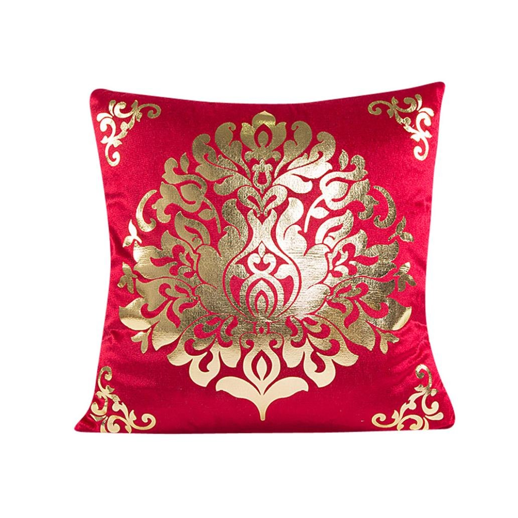Kavitoz Clearance! Pillow Case, Gold Party Coffee Sofa Waist Festival Throw Cushion Cover Bed Home Decor Pillow Cover 45cm*45cm By (Red)