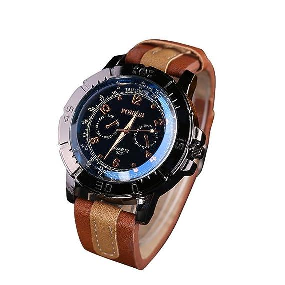 Zarup Relojes De Cuero De Faux De Hombres De Lujo Analog Quartz Sport Watch Reloj De Muñeca Café: Zarup: Amazon.es: Relojes