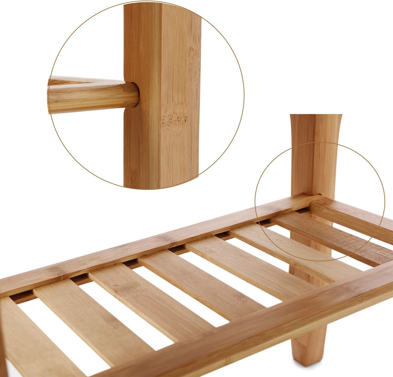 HYNAWIN Bamboo Shower Caddy Bathroom Bench Sturdy Waterproof Stool with Shelf Foot Stool & Shower Shelf-Indoor Outdoor Patio Garden Yard Bath Shower Bench Caddy: Home & Kitchen
