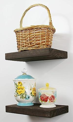 SOLID RUSTICS Handmade Rustic Wood Floating Wall Shelves, Walnut, Set of 2 Walnut, 48 W x 7 1 4 D x 1 1 2 H