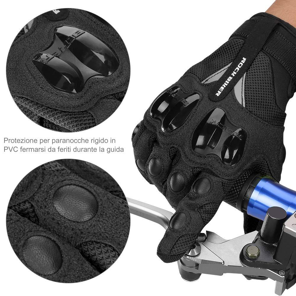 Guanti da Moto Estivi Uomo Donna Hard Knuckle Protettivo con Fori Traspiranti per Moto Motocicletta ATV Motocross Ciclismo Guanti per Moto Antiscivolo L Guanti Moto Touchscreen