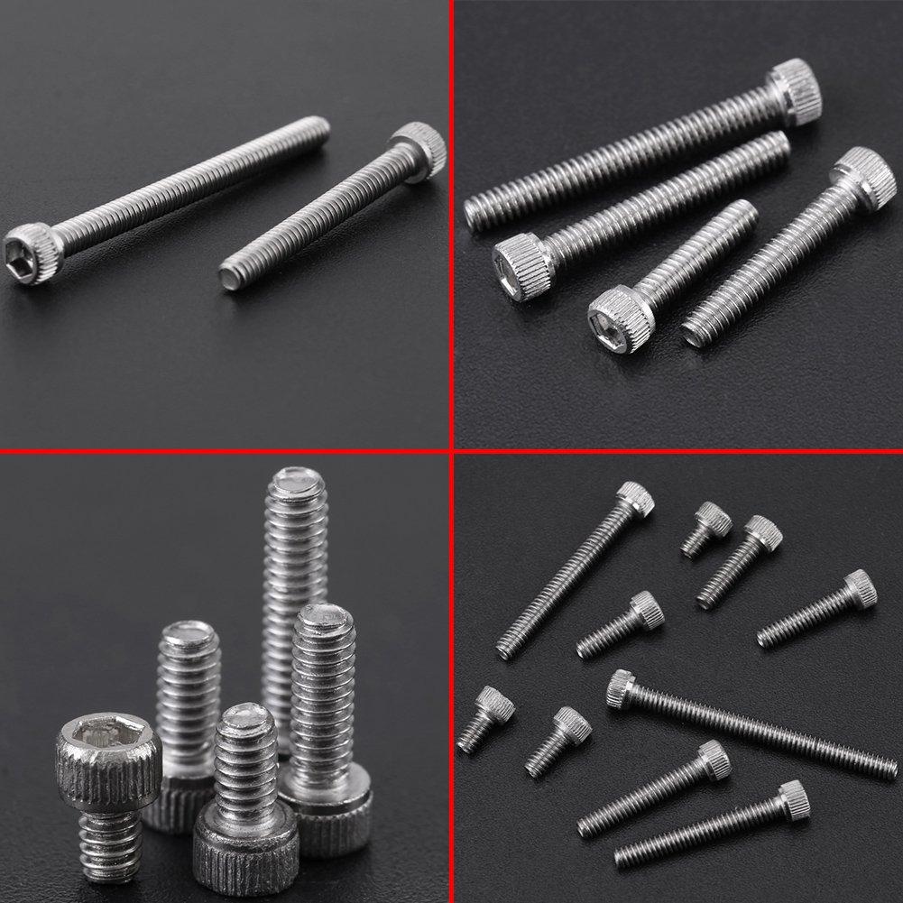 Simlug 150PCS 9 Sizes Hex Socket Cap Head Screws Assortment Set with Plastic Box #2-56 UNC