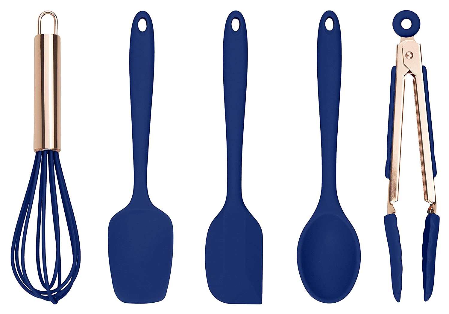 Cook With Color Set of Five Navy and Rose Gold Silicone Mini Kitchen Utensil Set