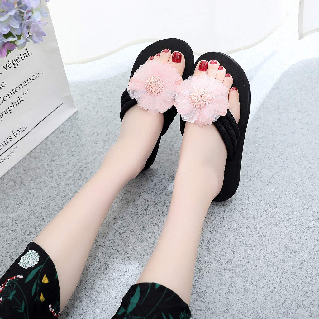 Womens Flowers Home Slippers Beach Shoes Sandals Flip Flops Ladies Summer Slippers,2019 New