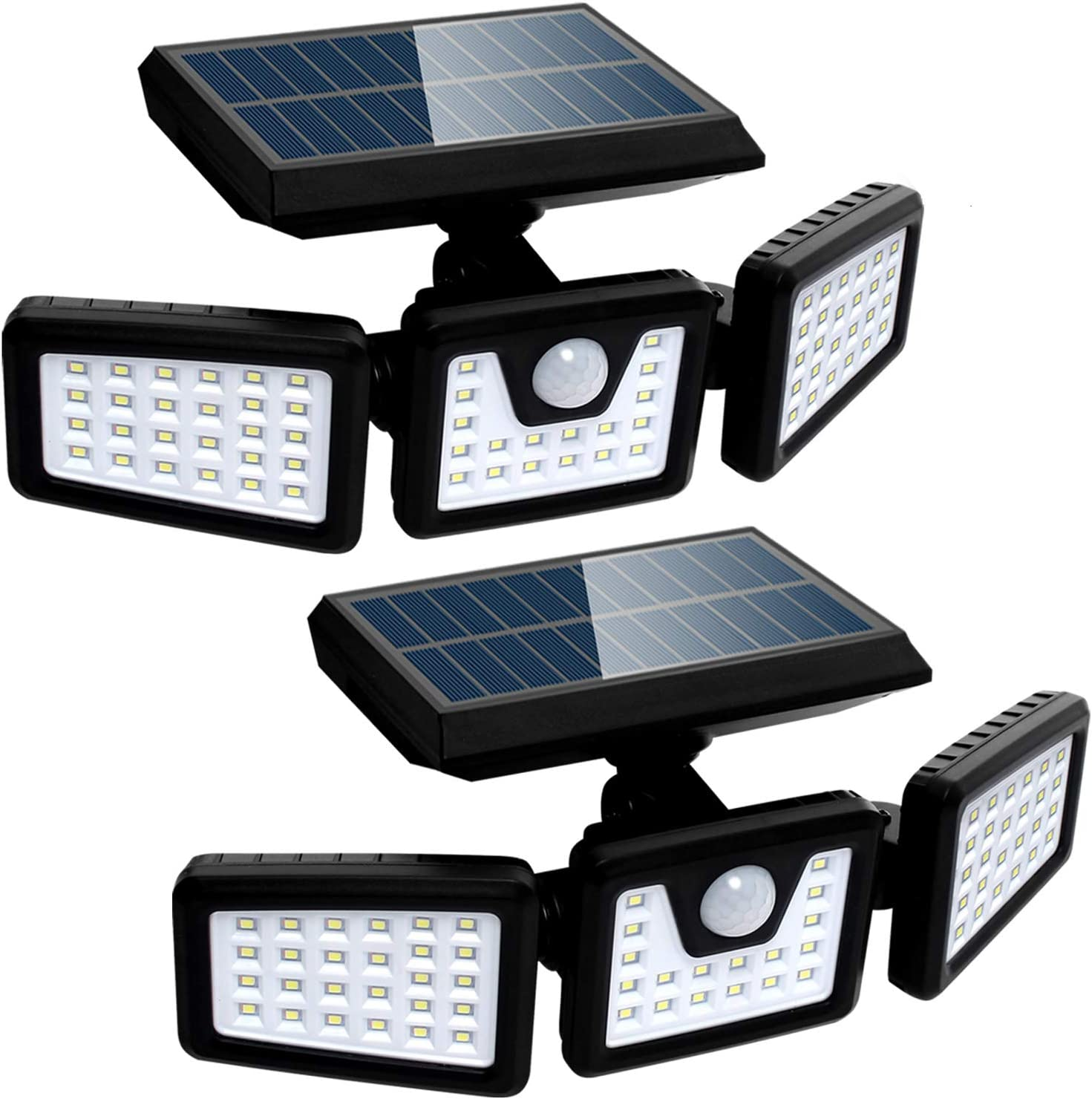 Solar Lights Outdoor with Motion Sensor, 3 Heads Security Lights Solar Powered, 70 LED Flood Light Motion Detected Spotlight for Garage Yard Entryways Patio, IP65 Waterproof 2 Pack - -