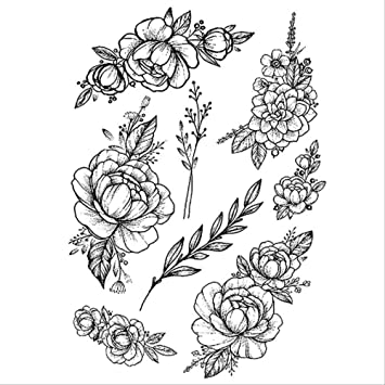 CCWL 1 Pc Moda Mujeres Chica Temporal Tatuaje Pegatina Rosas ...