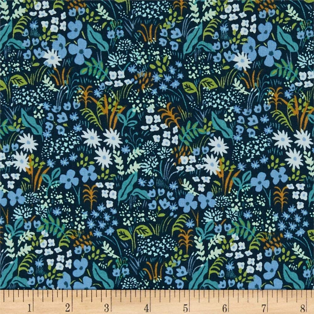 Cotton + Steel Rifle Paper Co. English Garden Meadow Fabric, Blue, Fabric By The Yard
