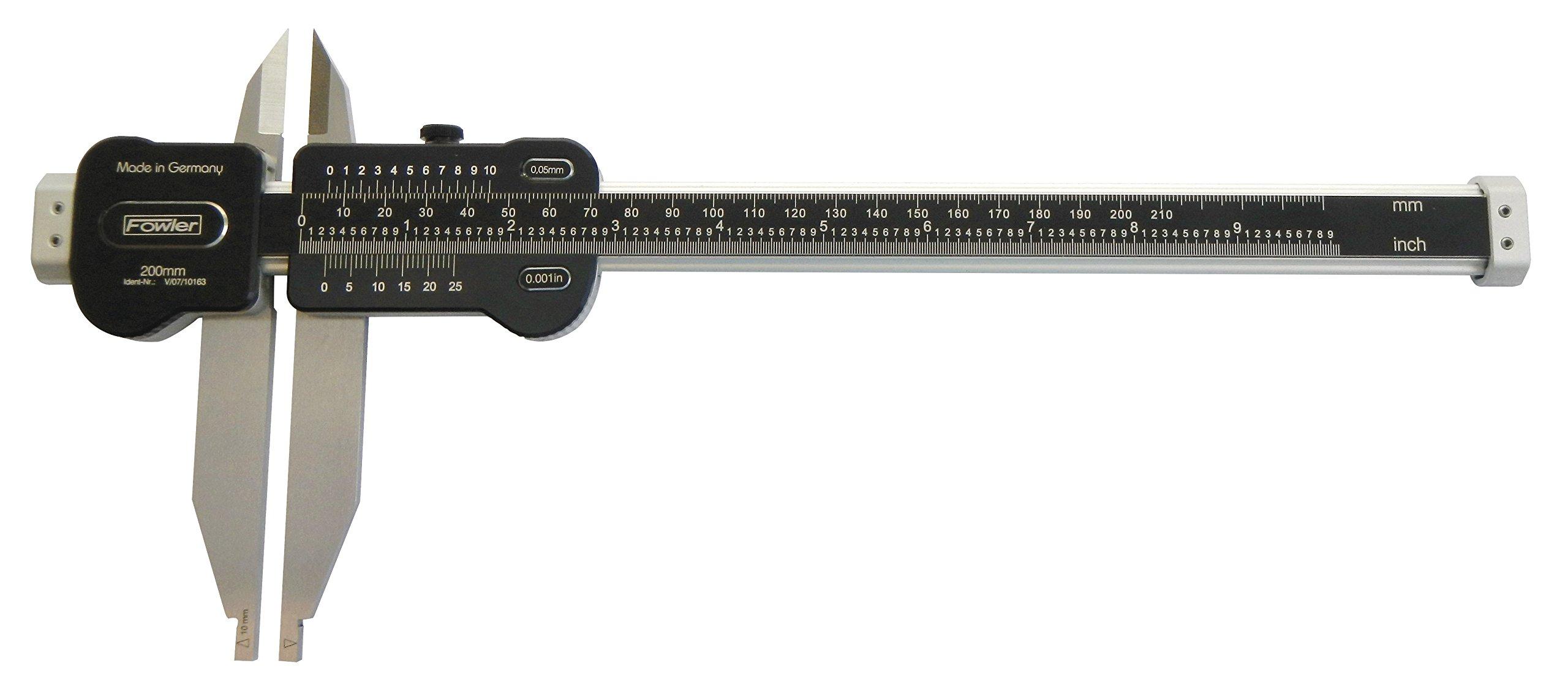 Fowler 52-075-035-0 35''/900mm Light Line Vernier Caliper, Range: 0-35''/900mm, 0.0015''/0.04mm Accuracy, 0.001''/0.05mm, Aluminum, black