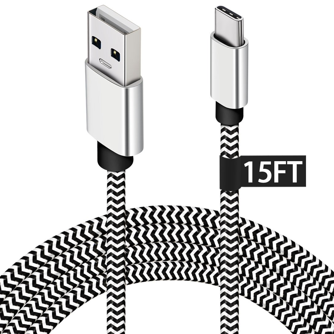 USB Type C Charger Cable,15FT Long USB C Cable for Google Pixel 2 XL,Samsung S9 / S9 Plus/Galaxy S8,LG V30 / G6,Nylon Braided Fast Charging Type C Cord for Nintendo Switch/MacBook/Wall Charger