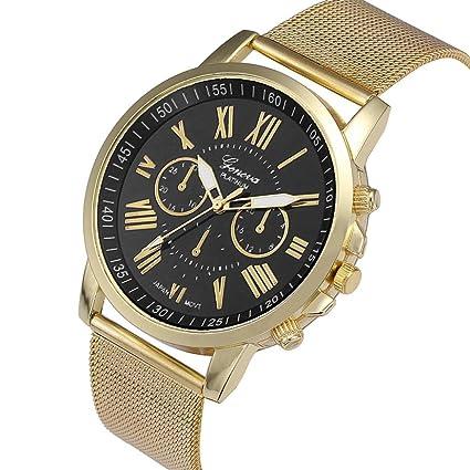 Relojes Pulsera Mujer, Xinan Moda Clásica de oro Cuarzo Ginebra Reloj de Pulsera de Acero