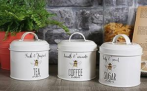 English Tableware Company Bee Happy Tea Coffee Sugar Enamel Storage Canister Jar Tin Set of 3