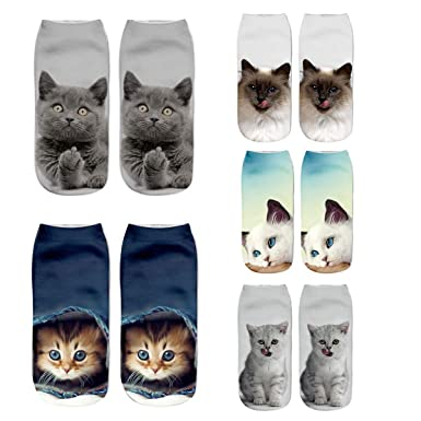 ZOEREA 5 Pares Mujeres Chicas Calcetines 3D Crazy Funny Gatos Animales Calcetines de tobillo Fashion Casual EU 35-41: Amazon.es: Ropa y accesorios