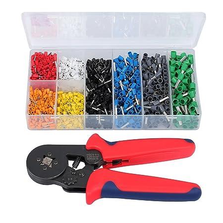 1200x Connectors Terminal Crimp Tool Kit 0.25-10mm² 6-4 Ferrule Crimping Plier