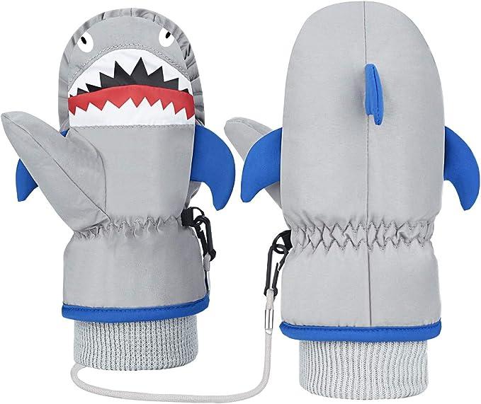 Gray Kids Warm Ski Gloves Cute Shark Windproof Girls Boys Winter Mittens