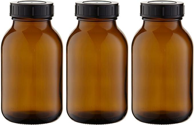 Set di 2 bicchieri da farmacia marroni da 200 ml made in Germany con tappo a vite e etichette Mikken
