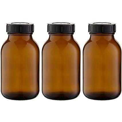 3 x cuello largo botella 500 ml de vidrio ámbar con cierre de rosca con junta